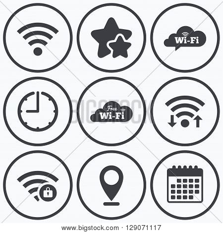Clock, wifi and stars icons. Free Wifi Wireless Network cloud speech bubble icons. Wi-fi zone locked symbols. Password protected Wi-fi sign. Calendar symbol.