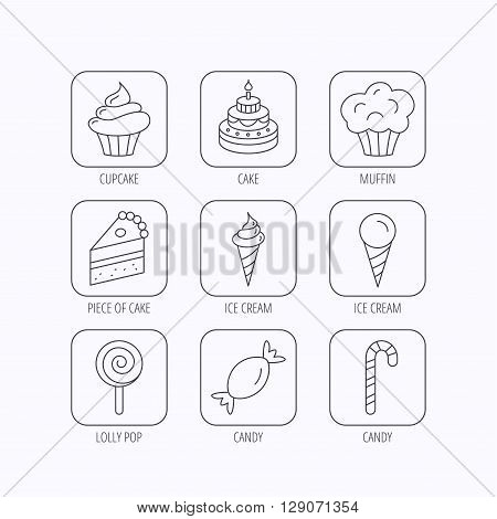 Cake, candy and muffin icons. Cupcake, ice cream and lolly pop linear signs. Piece of cake icon. Flat linear icons in squares on white background. Vector