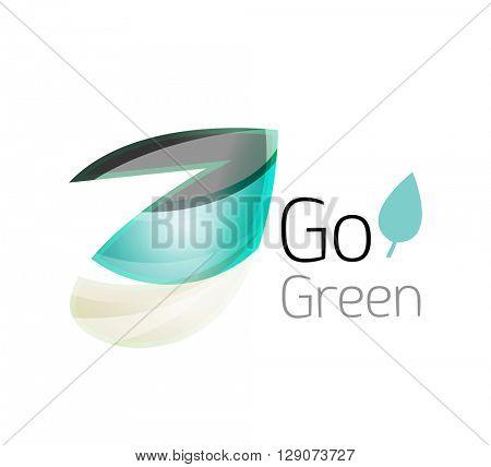 Minimalistic modern abstract leaf design, nature logo. Vector illustration