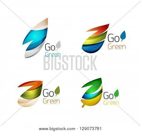 Colorful geometric nature concepts - abstract leaf logos, multicolored icons, symbol set. Vector illustration