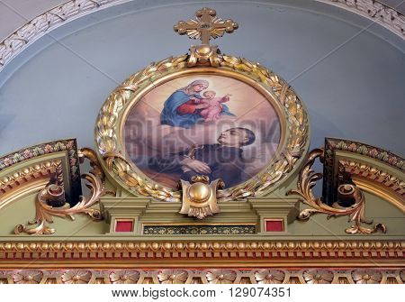 ZAGREB, CROATIA - SEPTEMBER 14: Saint Aloysius Gonzaga altar in the Basilica of the Sacred Heart of Jesus in Zagreb, Croatia on September 14, 2015.