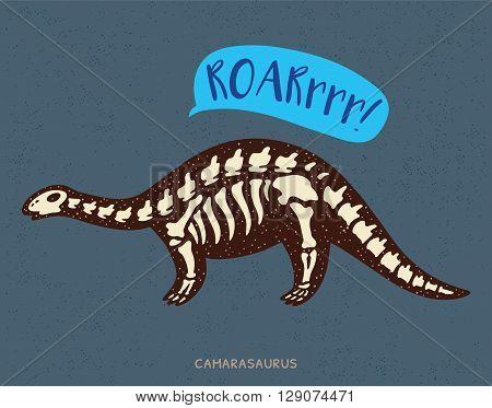 Cartoon card with a camarasaurus skeleton and text Roar. Fossil of a camarasaurus dinosaur skeleton. Cute dinosaur on blue background