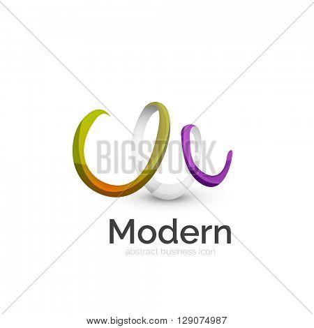 Vector ribbon abstract wavy logo isolated on white