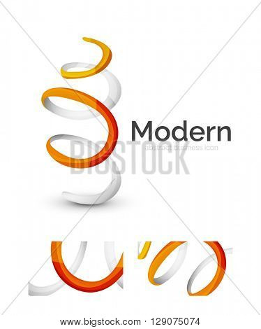 Abstract 3d swirl ribbon logo template with business card corporate identity design. Vector illustration