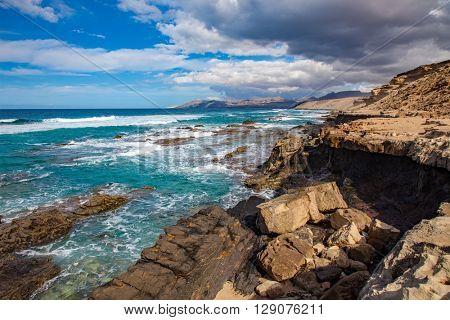 Fuerteventura stone seashore