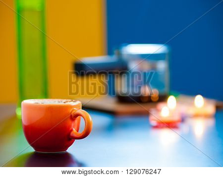 Cup of coffee Cezve and candles