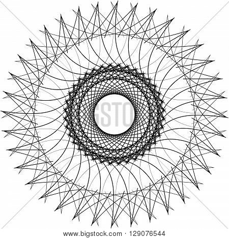 Geometric Uncolored Mandala Element