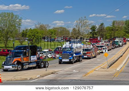 LANCASTER PENNSYLVANIA - MAY 8 2016: Make-A-Wish Foundation shatters world record for largest convoy draws 590 trucks. On the Mother's Day annual fundraiser truckers grant a Lancaster County wish ride to children with life-threatening illnesses.