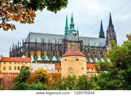 Prague autumn landscape view to saint vitus cathedral