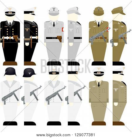 Uniforms and weapons of soldiers and officers of the Wehrmacht in the Second World War. The illustration on a white background.