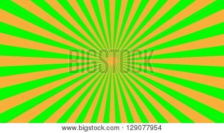 Abstract sunbeams background - vector illustration. Illustration shiny sunbeams. Bright sunbeams on green background. Abstract bright background - vector.