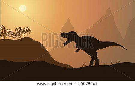 silhouette of tyrannosaurus in fields with brown backgrounds