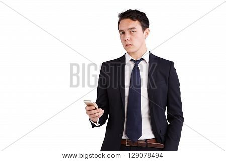Young Caucasian Business Man Holding A Phone