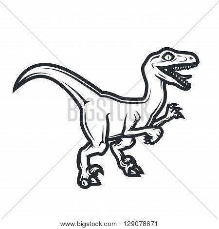 Prehistorical dino Logo concept. Raptor insignia design. Jurassic dinosaur illustration. T-shirt concept on white background poster