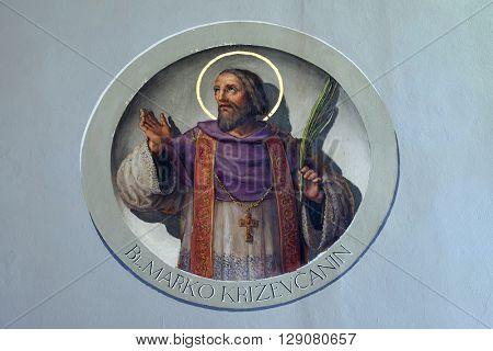 ZAGREB, CROATIA - SEPTEMBER 14: Saint Marko Krizin, fresco in the Basilica of the Sacred Heart of Jesus in Zagreb, Croatia on September 14, 2015.