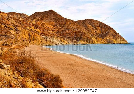 a view of the Algarrobico Beach, in Carboneras, in the Cabo de Gata-Nijar Natural Park, in the Province of Almeria, in Spain