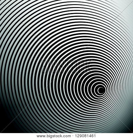 Concentric Radial, Radiating Circles - Abstract Monochrome Geometric Element