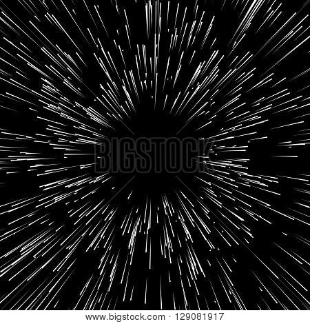 Abstract Explosion, Bursting Effect, Radial, Radiating Edgy Lines. Abstract Monochrome Graphics