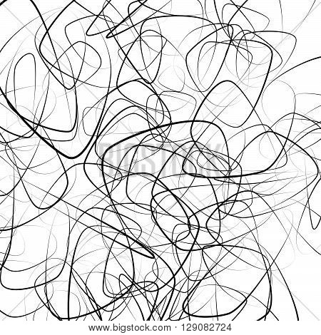 Random Squiggly, Chaotic Lines. Artistic Monochrome Image.