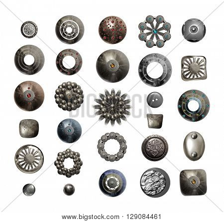 Collection of various metal buttons