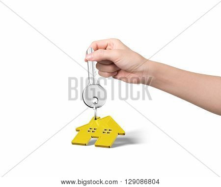 Woman hand holding silver key with golden house shape keyring isolated on white background, 3D Rendering.