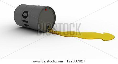 Grey Oil Barrel Leaking Golden Oil 3D Illustration