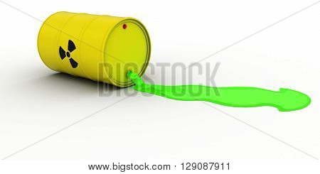 Radioactive Waste Leaking Out Of Barrel 3D Illustration