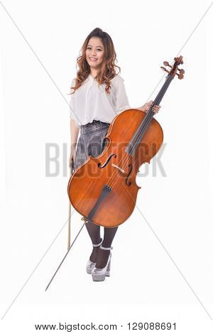 Full body asian young girl with big violin,