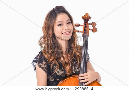 Beautiful young girl with violin,