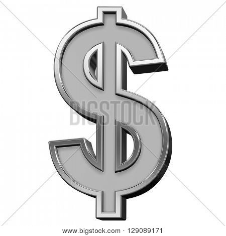 Dollar sign from gray with silver frame alphabet set, isolated on white. 3D illustration.