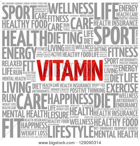 VITAMIN word cloud presentation background health concept
