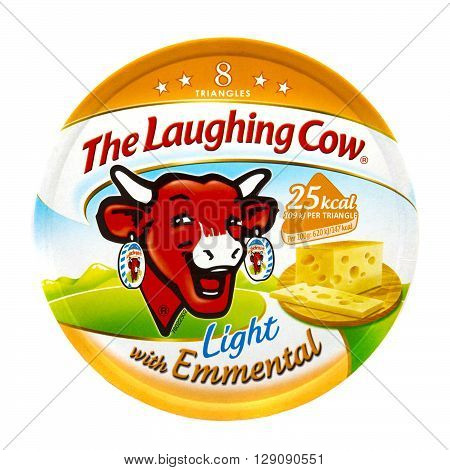 SWINDON UK - APRIL 18 2016: Packet of The Laughing Cow light cheese spread with Emmental isolated on white background