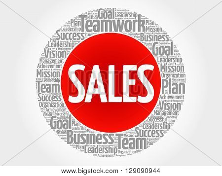 SALES circle word cloud business concept, presentation background