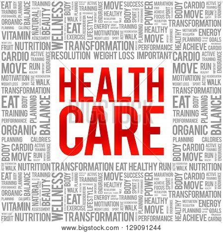 Health care word cloud background health concept, presentation background
