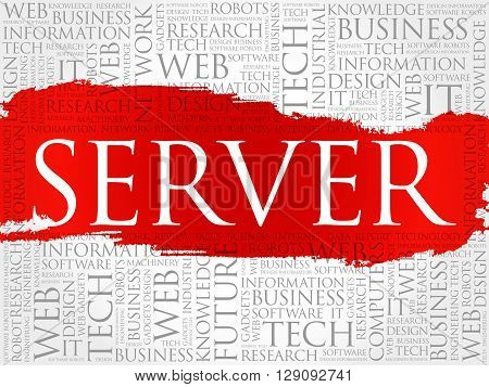 Server word cloud collage concept, presentation background