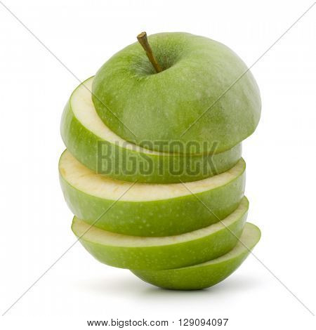 Green sliced apple isolated on white background cutout