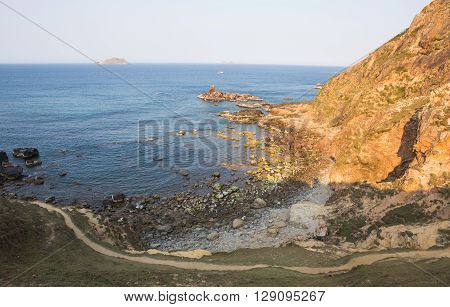 Wide view of Eo Gio ocean coast at Quy Nhon city, Binh Dinh province, central of Vietnam