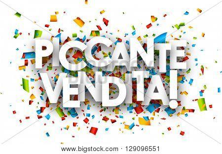 Hot sale paper background with color confetti, Italian. Vector illustration.