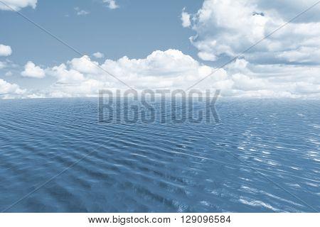 Blue ocean against scenic view of blue sky