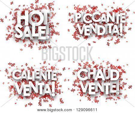 Hot sale paper backgrounds set, French, Spanish, Italian. Vector illustration.