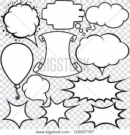 Blank Empty White Speech Bubbles. Vector Set