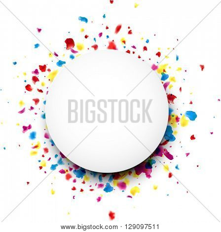 Paper round white background with color painted drops. Vector illustration.