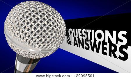 Questions and Answers Q A Forum Discussion Audience Microphone 3d Illustration