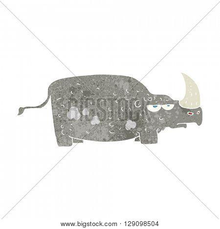 freehand retro cartoon rhino