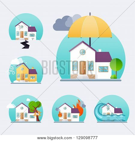 House insurance business service icons template. Property insurance. Big set house insurance. Vector illustration concept of insurance.