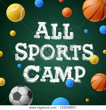 Sports summer training camp, themed poster, sports games, vector illustration.