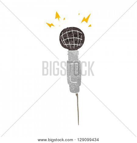 freehand retro cartoon microphone