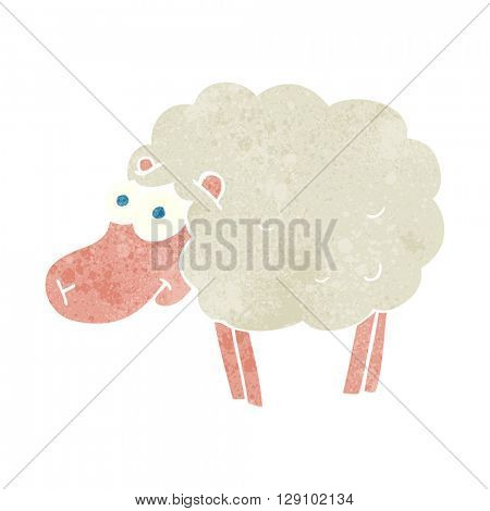 funny freehand retro cartoon sheep