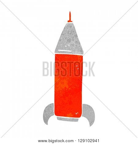 freehand retro cartoon space rocket