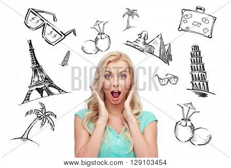 people, tourism, vacation and summer holidays concept - surprised smiling young woman or teenage girl over touristic doodles
